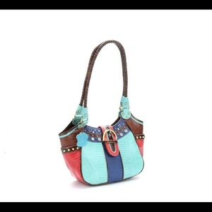 Trish Colorblock Leather Satchel by M.C. Handbags